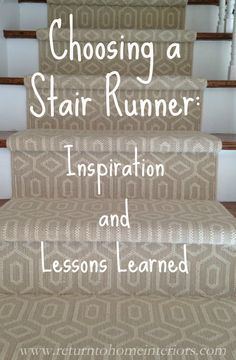 Choosing a Stair Runner: Some Inspiration and Lessons Learned. Choosing a Stair Runner: Some Inspiration and Lessons Learned. Modern Staircase Railing, Staircase Runner, Staircase Design, Basement Staircase, Stair Design, Staircase Ideas, Foyer Design, Hallway Ideas, Stair Railing