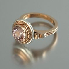 MARIA 14K gold ring with Morganite by WingedLion on Etsy, $1,195.00