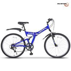 "Amazon.com : GTM 26"" 7 Speed Folding Mountain Bike Bicycle Shimano Hybrid Suspension MTB Blue : Sports & Outdoors"