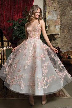 A-line dress with colorful embroidered flowers ,deep v evening dress,short homecoming dress ,colorful ball gowns - Outfits - Vestidos Quinceanera Dresses, Homecoming Dresses, Prom Dresses Tea Length, White Tea Length Dress, Tee Length Wedding Dress, Wedding Dress Buttons, Wedding Dresses, Engagement Dress For Bride, Prom Dresses Flowers
