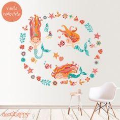 vinilos decorativos infantiles sirenas Under The Sea Party, Mermaid Birthday, Paint Shop, Clipart, Photo Book, Cute Pictures, Decoupage, Kids Rugs, Cartoon