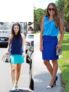 Inspiration: Bauer Griffin /GC Images via InStyle - my blue shorts with turquoise T or my blue shirt with turquoise pant/short