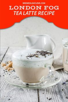 This super easy London Fog tea latte recipe tastes just like the Starbucks version. The secret is the special tea with lavender. Easy to make homemade with healthy choices like vegan almond milk. Vanilla Milk, Vanilla Flavoring, Almond Milk, London Fog Tea Latte, Milk Tea Recipes, Coffee Aroma, Breakfast Tea, Latte Recipe, Tea Gifts
