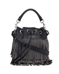 vogue replica handbags - Yves Saint Laurent Emmanuelle Small Leather Fringe Hobo Bag, Black ...