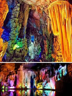 The Reed Flute Cave (China) - Outside the city of Guilin, the Reed Flute Cave is a popular travel destination while in China. The cave get's it's name from the reeds growing inside that are ideal for flute making. Reed Flute has a gambit of miraculous rock and mineral formations, carbon deposits, and stone pillars. The tourist attraction is illuminated by different colored lights giving it an other worldly feel.