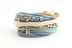 Pastel Blue Beige Hippie Boho Wrap Bracelet Denim by cardioceras