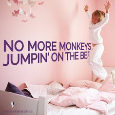 No more monkeys jumpin' on the bed wall decal - adorable!