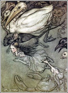 The Pool of Tears by the great Victorian illustrator Arthur Rackham, 1907 (from Alice in Wonderland)