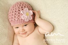 Crochet Pattern PDF - Textured Beanie with Daisy, Baby Hat, Sizes Preemie to Adult. $5.00, via Etsy.