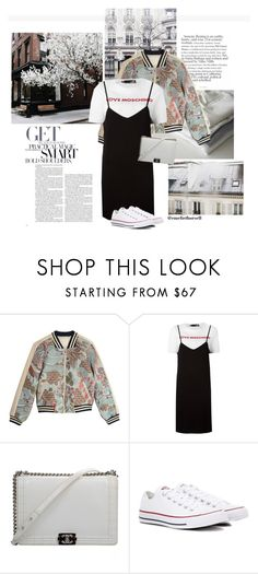 """""""Join my group"""" by emeliethorsell ❤ liked on Polyvore featuring INC International Concepts, Chanel, Maje, Love Moschino and Converse"""