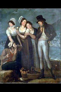 GEMÄLDE DEP-3570.1-3 Gemälde. Trachtenbild. Fünfteilige, in sich geschlossene Figurengruppe in einem Ruderboot auf dem Zürichsee, hinten gegenüberliegendes Ufer. Maler Joseph Reinhart. Öl auf Leinwand. 1802 (Datiert).