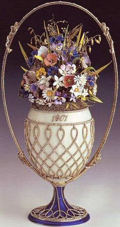 Easter 1901 - Tsar Nicholas II presents the Flower Basket Egg to Tsaritsa Alexandra