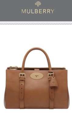 In ❤️ with this Bayswater Double Zip Tote in Oak Natural Leather!! #mulberry