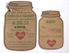 Dye Cut Mason Jar Wedding Invitation and RSVP Card for the Rustic Wedding on Etsy, $2.25
