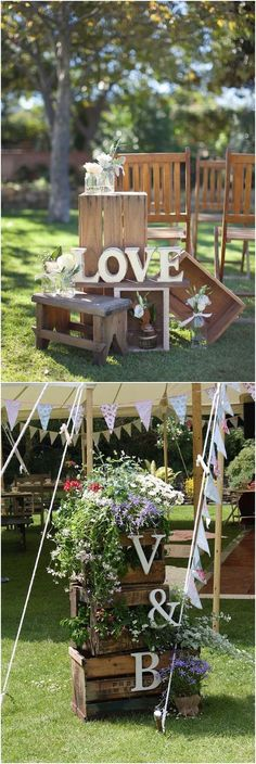Rustic country wooden crate wedding decor ideas / http://www.deerpearlflowers.com/rustic-woodsy-wedding-trend-2018-wooden-crates/ #rusticweddings #countryweddings #weddingdecoration