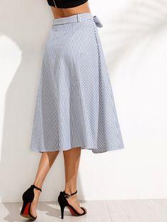 Falda a media pierna rayas con lazo en cintura - azul-Spanish SheIn(Sheinside)