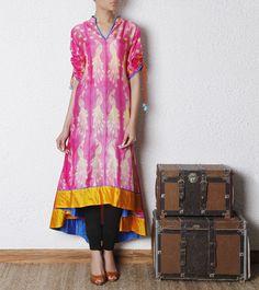 Shibori Dyed Silk Kurta