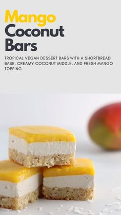 This mango coconut bar recipe is the perfect summer dessert. Vegan and gluten-free! A flaky and toasty shortbread base, creamy coconut middle, and fresh mango topping. free recipes for dessert videos Mango Coconut Bars Summer Dessert Recipes, Vegan Sweets, Healthy Dessert Recipes, Gourmet Recipes, Easter Recipes, Mango Recipes Vegan, Dessert Bars, Bon Dessert, Desserts Végétaliens