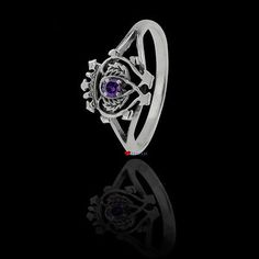 Sterling Silver Ring with Amethyst Hued Stone in Scottish Luckenbooth Design