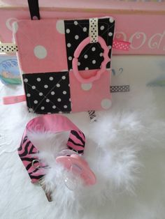 Baby Girl Pacifier Clip and Crinkle Toy Shabby by Sassydoodlebaby, $10.99