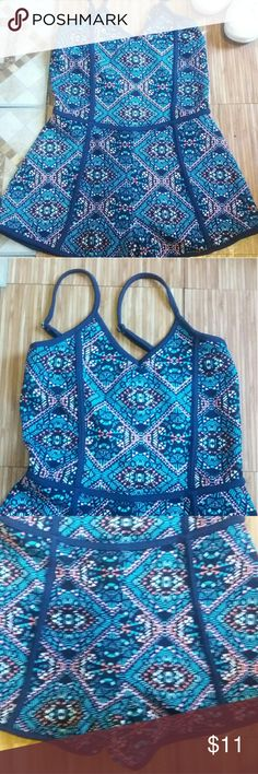 💙Romper with a cute pattern💙 Super cute romper with shades of blue , pink, orange and white! Good to pair with sandals and keeps you cool and cute on a summer day. Derek Heart Tops