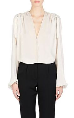 Lanvin Ruched Mousseline Peasant Blouse at Barneys New York