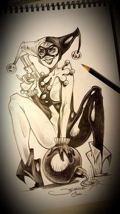 Tattoo Design Drawings, Sexy Drawings, Drawing Sketches, Art Drawings, Harley Quinn Drawing, Joker And Harley Quinn, Tatuagem Cholo, Joker Cartoon, Joker Art