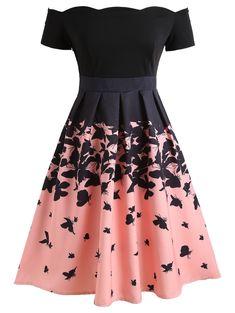 ff2a62d41b Butterflies Printed Off Shoulder Retro Dress