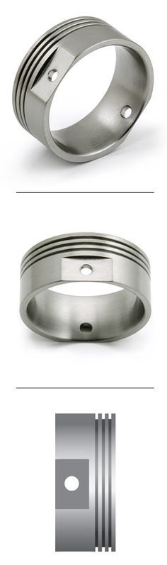 Titanium Ring Engine Piston design Avant-Garde Jewelry great for mechanics and auto lovers! Titanium Jewelry, Titanium Rings, Unique Mens Rings, Rings For Men, Avantgarde, Engine Pistons, Fashion Moda, One Ring, Piercings
