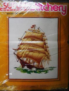 Sunset Stitchery Kit 2501 Before The Wind Tall Ship Embroidery Intermediate for sale online Tall Ships, Embroidery Kits, Sunset, Frame, Ebay, A Frame, Sunsets, Frames, Hoop