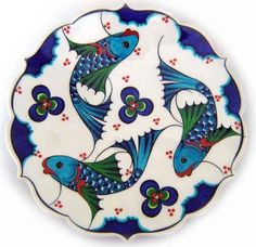 Strange, I don't care much for symmetry but I love repeated images that go around in a circle Century Iznik tile) Turkish Art, Turkish Tiles, Ceramic Plates, Ceramic Pottery, Italian Pottery, Fish Art, Islamic Art, Hand Painted, Artwork