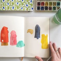 April Project: Day 16 ! Illustrating people everyday! I just painted these colorful shapes, and I am going to turn them into people.  Here goes! #drawingpeople #illustratingpeople #watercolor #aprilproject #people #painting #makingitupasigo #workinprogress #handbookjournal