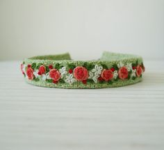 Peach and Green Hand Embroidered Cuff Bracelet