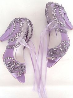 Lace Embellished Lilac Silver Bridal Shoes 2fba9f441317