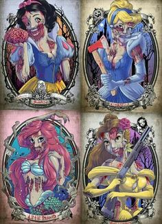 Who wants to dress like this for Halloween???Disney princess zombies :)
