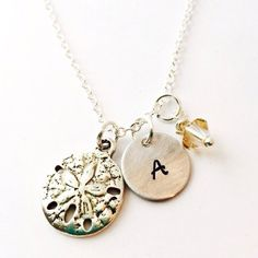 Sand Dollar Charm Necklace Initial Name Necklace Hand Stamped...