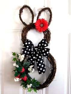 Grapevine 26 Easter Bunny Rabbit Wreath by SparkleWithDesigns Easter Wreaths, Holiday Wreaths, Traditional Doors, Easter Holidays, Frame Crafts, Summer Crafts, Summer Wreath, Easter Crafts, Grape Vines