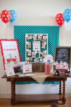 Little Red Wagon Boy S First Birthday Www Eshipsandlaserbeams Boys Party Ideas