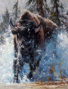 Robert Hagan - 'Charge' - Oil on Canvas robert-hagan on DeviantArt Wildlife Paintings, Wildlife Art, Animal Paintings, Buffalo Animal, Buffalo Art, American Indian Art, Native American Art, American Bison, Buffalo Pictures
