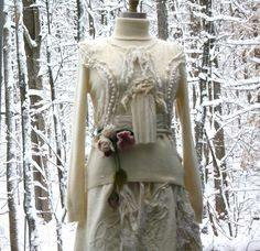 All I can say is....OH MY WORD THIS IS GORGEOUS!!  Winter wedding SKIRT and TOP with felted flowers. Size Small/Medium on Etsy, $520.00