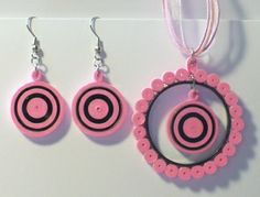 Let's create: Pink and Black Circle Quilling Jewelry Set