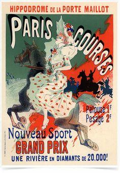 Poster The Belle Epoque Paris Courses impresso com tecnologia HighHD de alta definição em papel semi-glossy especial com gramatura 250g no tamanho A3 (42x29cm) com cores vibrantes.