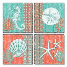 Turquesa Coral, Teal Coral, Cape Coral, Fish Collage, Wall Collage, Coastal Wall Art, Coastal Decor, Ocean Home Decor, Seashell Bathroom Decor
