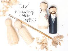 Fair Trade Wedding Cake Toppers DIY Bride/Groom  Wedding Decor  Kit  DIY Cake Toppers with Extra Couple Choose your Colors- Wooden Dolls. $22.00, via Etsy.