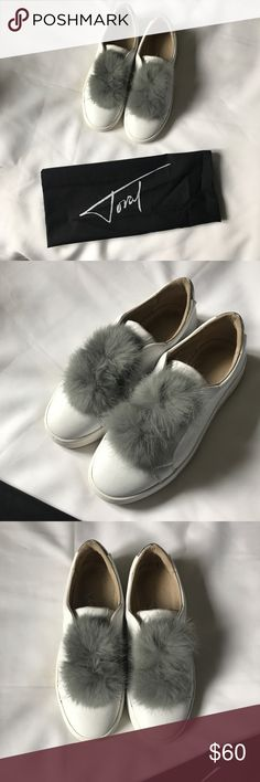 Toral 100% leather sneakers with real rabbit fur Worn once!  Conditions 9/10 Comes with dustbag and original box  Brand: Toral  100% white leather sneakers and real grey rabbit fur Handmade in Spain Size 37/7US Can fit a 6.5 as well   Original price: 148,72 Euros- $176.85  #toral #sneakers #rabbitfur #fur #leather #leathersneakers #europeanbrand #european #toralshoes Toral Shoes Sneakers