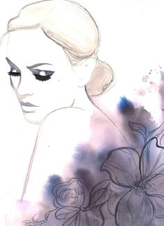 Ilustración de moda Acuarela original por Jessica Durrant titulado, rapto de noche