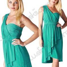 MAX & CLEO Tina Sz 2 Blue Sail Draped Grecian Ruched One Shoulder Jersey Dress