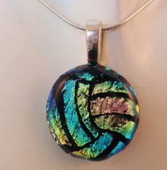 Volleyball Necklace Pendant - Water Polo Necklace Pendant - Dichroic Fused Glass - Small Mixed Pastel - Free Shipping