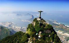 Brésil, la statue, le Sauveur, Jésus-Christ, ville, nuages, montagnes Wallpaper
