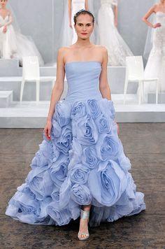 Gorgeous rosettes on this fabulous Monique Lhuillier blue wedding dress.